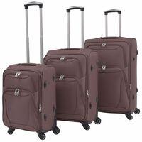 vidaXL kolmeosaline pehme kattega kohvrite komplekt, kohvivärvi