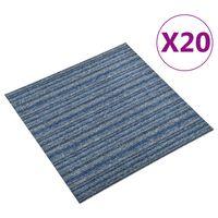 vidaXL põranda plaatvaibad 20 tk, 5 m², 50 x 50 cm, triibuline sinine