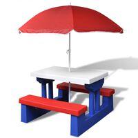 vidaXL laste piknikulaud pinkide ja päevavarjuga, mitmevärviline