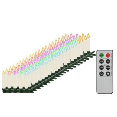 vidaXL juhtmevabad LED-jõuluküünlad puldiga, 100 tk, RGB