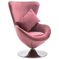 vidaXL pöörlev munakujuline tool padjaga, roosa, samet