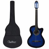 vidaXL 12-osaline Western kitarri komplekt  ekvalaiser, 6 keelt sinine