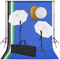 vidaXL fotostuudiokomplekt, lambid vihmavarjud, taustapilt, reflektor