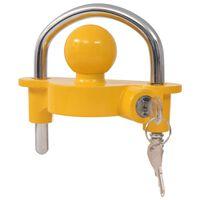 vidaXL järelhaagise lukk 2 võtmega, teras ja alumiiniumisulam, kollane
