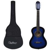 """vidaXL klassikaline kitarr algajatele ja lastele kotiga, sinine 1/2 34"""""""