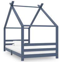 vidaXL laste voodiraam, hall, tugevast männipuidust, 90 x 200 cm