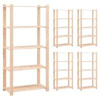 vidaXL 5-korruselised hoiuriiulid, 5 tk 80x38x170 cm männipuit 250 kg