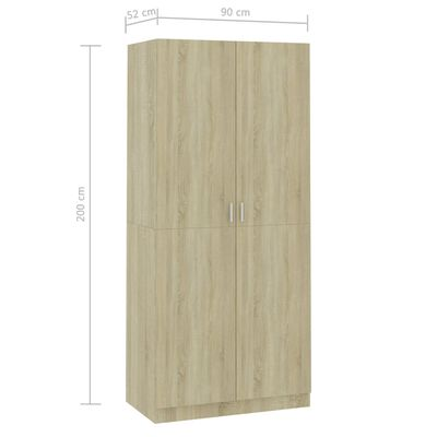 vidaXL garderoob Sonoma tamm 90 x 52 x 200 cm puitlaastplaat, Sonomaoak