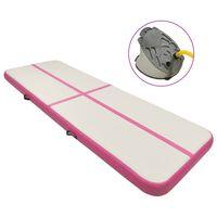 vidaXL täispumbatav võimlemismatt pumbaga 300x100x15 cm PVC roosa