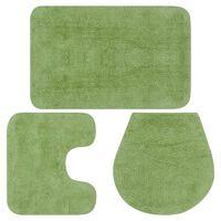vidaXL vannitoamattide komplekt, 3-osaline, kangas, roheline