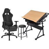 vidaXL kallutatava lauaplaadiga joonestuslaud koos kontoritooliga