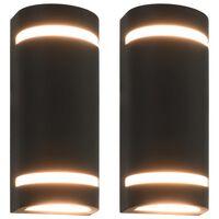 vidaXL õuevalgustid 2 tk, 35 W, mustad, poolümarad