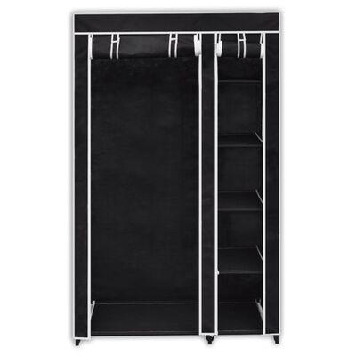 vidaXL kokkupandav riidekapp, must, 110 x 45 x 175 cm