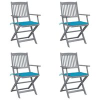 vidaXL Folding Outdoor Chairs 4 pcs with Cushions Solid Acacia Wood (46334+47591)