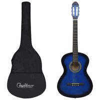 """vidaXL klassikaline kitarr algajatele kotiga sinine 4/4 39"""""""