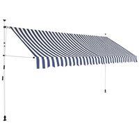vidaXL kokkupandav varikatus, sinise-valgetriibuline, 350 cm