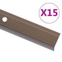 vidaXL trepikaitsmed L-kujulised 15 tk, alumiinium, 134 cm, pruun