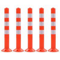 vidaXL liikluskorralduse tähispostid, 5 tk, plast, 75 cm