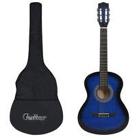 """vidaXL 8-osaline kitarrikomplekt lastele ja algajatele, sinine 3/4 36"""""""