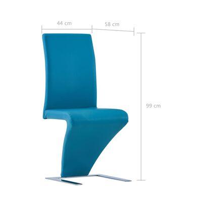 vidaXL söögitoolid siksaki kujuga 4 tk, sinine, kunstnahk