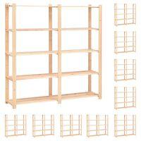 vidaXL 5korruselised hoiuriiulid 10 tk 170x38x170 cm männipuit 500 kg