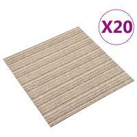 vidaXL põranda plaatvaibad 20 tk, 5 m², 50 x 50 cm, triibuline beež
