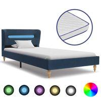 vidaXL voodi LEDi ja mäluvahust madratsiga, sinine kangas 90 x 200 cm