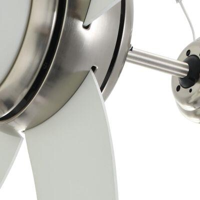 vidaXL kaunistatud laeventilaator valgustusega 128 cm valge