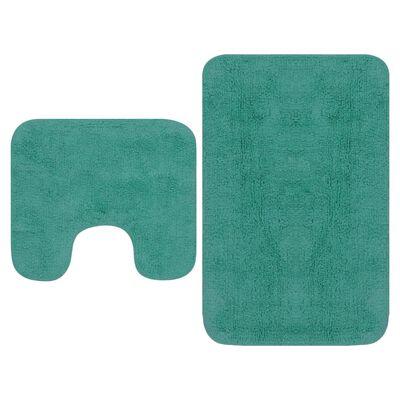 vidaXL 2-osaline vannitoamattide komplekt, kangas, türkiissinine