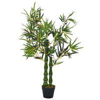vidaXL kunsttaim bambus lillepotiga, roheline, 110 cm