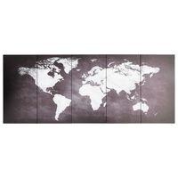 vidaXL seinamaalikomplekt lõuendil, maailmakaart, hall, 150 x 60 cm