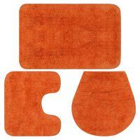 vidaXL 3-osaline vannitoamattide komplekt, kangas, oranž