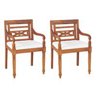 vidaXL bataavia toolid, 2 tk, patjadega, tiikpuu