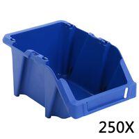 vidaXL virnastatavad hoiukastid 250 tk 103 x 165 x 76 mm, sinine
