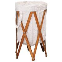 vidaXL kokkupandav pesukorv, kreemjas, painutatud puit ja kangas