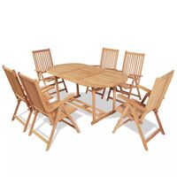 vidaXL 7-osaline kokkupandav aiamööblikomplekt toolidega, tiikpuu
