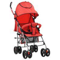 vidaXL kaks ühes kokkupandav lapsevanker/jalutuskäru, punane, teras