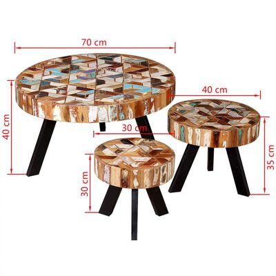 vidaXL kolmeosaline kohvilauakomplekt, taastatud akaatsiapuidust