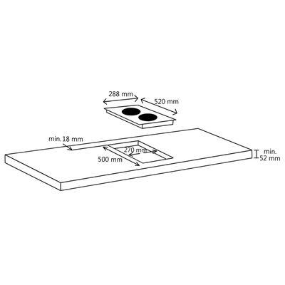 vidaXL keraamiline pliit 2 plaadiga, puutetundlik, 3000 W