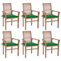 vidaXL söögitoolid 6 tk roheliste istmepatjadega, tiikpuu
