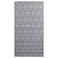 vidaXL õuevaip, valge ja must, 120 x 180 cm, PP