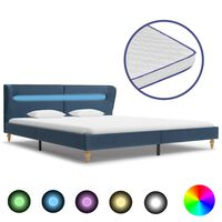 vidaXL voodi LEDi ja mäluvahust madratsiga, sinine kangas 160 x 200 cm