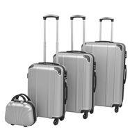 vidaXL neljaosaline kõvakattega kohvrite komplekt hõbedane
