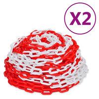 vidaXL hoiatusketid 2 tk, punane ja valge, plast, 30 m