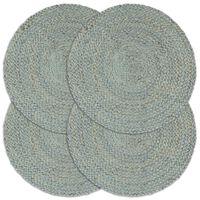 vidaXL lauamatid 4 tk, oliiviroheline, 38 cm, ümmargune, džuut