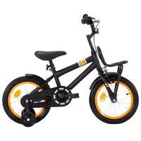 vidaXL laste jalgratas esipakiraamiga, 14'', must ja oranž