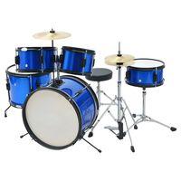 vidaXLi trummikomplekt pulbervärvitud terasest, sinine, juunior