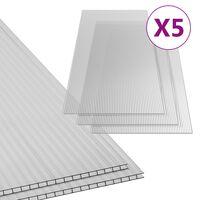 vidaXL polükarbonaadi lehed 5 tk, 6 mm, 150 x 65 cm