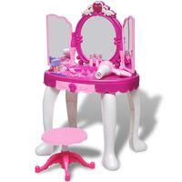 Kolme peegliga laste tualettlaud heli ja valgusega
