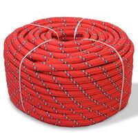 vidaXL paadiköis polürpopüleenist 12 mm, 50 m, punane